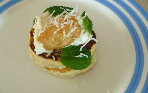 Tiny pineapple and coconut pikelet - my styling